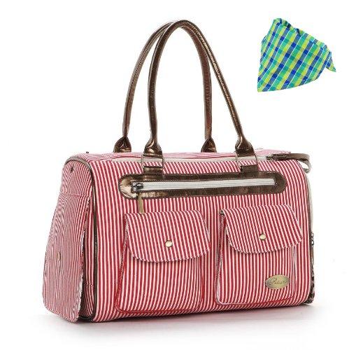 Stylish Dog Carrier Dog Handbag Dog Purse for Dog Tote Bag Pet Cat Dog Hiking Backpack + Dog Bandana, Red