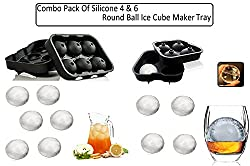 "(Combo Pack Of 4 & 6 Round Ball Ice Cube Tray ) KARPâ""¢ Flexible Silicone Spherical Round Ball Ice Cube Tray Maker Mold With Lid Perfect Ice Spheres For Whiskey Lovers Cocktails Non-Alcoholic Beverages"