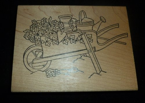 Decorative Wheel Barrow Rubber Stamp - 1