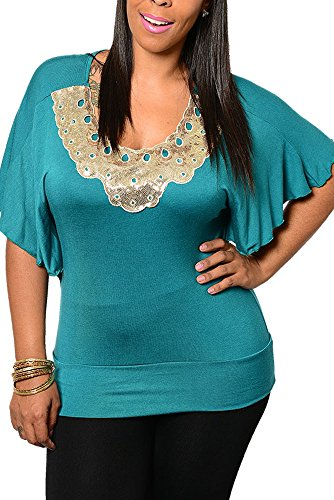 Dhstyles Women'S Plus Size Trendy Embellished Fitted Flutter Sleeve Dressy Top-1X - Jade front-1058687