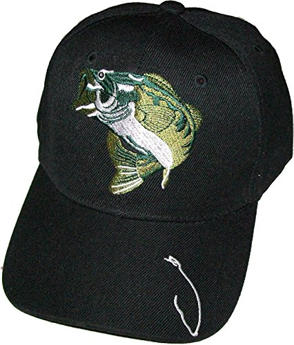 Black large mouth bass fishing sports cap hat with hook on for Fish hook on hat