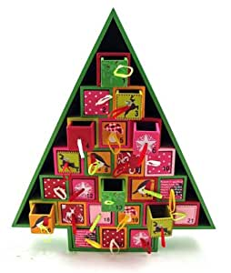 Wood christmas tree advent calendar by 180 for 180 degrees christmas decoration