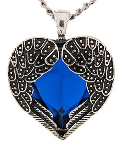 DaisyJewel-Vintage-Royal-Blue-Heart-Angel-Wings-of-Love-Pendant-Necklace