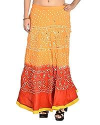 Aura Life Style Women's Glace Cotton Bandhej Skirt (ALSK3021B, Multi , Free Size)