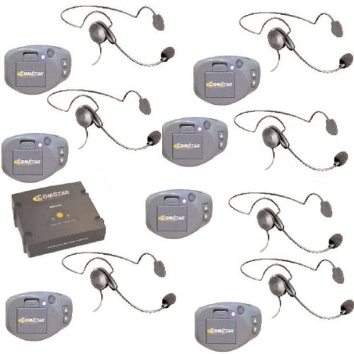Comstar Digital Full Duplex Wireless System With 7 Headsets - For Referees, Coaches And Sports Teams