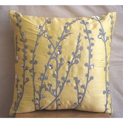 Yellow Crystal Willow - 26X26 Inches Euro Shams Covers - Silk Pillow Cover Embroidered With Silver Thread And Crystals front-935675