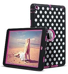 iPad Air Case,ULAK Hybrid Case Cover for Apple iPad Air iPad 5 (2013 Model) (Polka Dot/Black/Hot Pink)