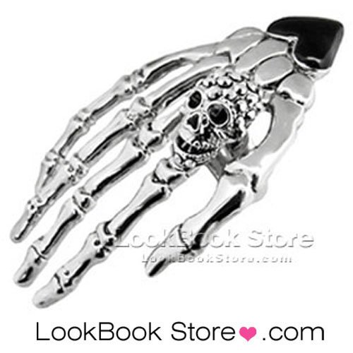 Polished Glitter Silver-tone Metallic Skull Skeleton Contrast Black Heart Ring