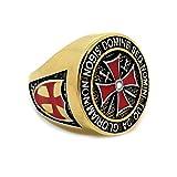 BOBIJOO Jewelry - Bague Ordre templiers Masonic Homme Or Croix de Malte Templier Acier Inoxydable