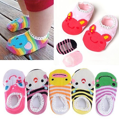 Fly-love-5-Pairs-Cute-Baby-Toddler-Stripes-Anti-Slip-Skid-Socks-No-Show-Crew-Boat-Sock-For-6-18-month