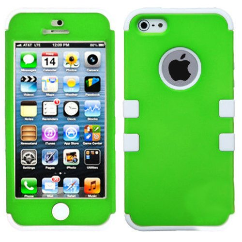 Mylife (Tm) White And Bright Green - Colorful Robot Series (Neo Hypergrip Flex Gel) 3 Piece Case For Iphone 5/5S (5G) 5Th Generation Itouch Smartphone By Apple (External 2 Piece Fitted On Hard Rubberized Plates + Internal Soft Silicone Easy Grip Bumper Ge