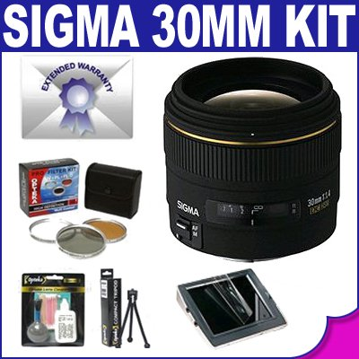 Sigma 30mm f/1.4 EX DC HSM Lens & Filters & Lens Cleaning Kit & 7 Year Warranty for Canon SLR