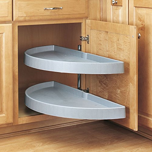 Rev-a-Shelf Rev-a-Shelf Half Moon 2 Shelf Pivot & Pull Lazy Susan, Almond, Plastic, 14 in. Minimum Opening