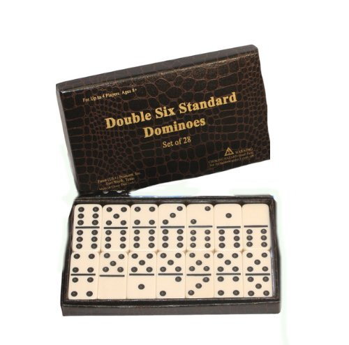 Double 6 Marbalized Dominoe Set 28 Cream/white Color with Black Dots