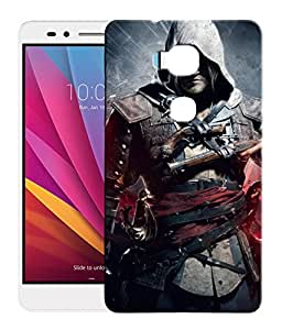 FCS Printed 3D Designer Hard Back Case For Huawei Honor 5X With Universal Mobile Stand