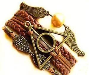 Hiboux vintage à la main pour Harry Potter Deathly Hollows ailes bracelet en cuir 3 en 1 avec pendentifs Hedwige, Vif d'or et logo Reliques de la Mort