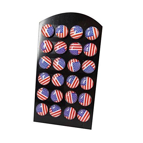 Surker 24Pcs Stainless Steel Usa American Flag Stud Earrings 10Mm