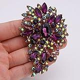 EVER FAITH® Vintage Inspired Flower Teardrop Purple Austrian Crystal Bouquet Brooch Pendant