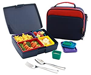 Laptop Lunches Bento-wareTM Bento Kit, Navy/Primary (K730-navy). Kit includes Insulated Bento Tote, USA-made Bento Lunch Box with Leak-proof Containers, and Stainless Steel Utensils.