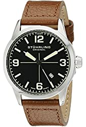 Stuhrling Original Men's 449.331E1 Aviator Tuskegee Classic Stainless Steel Watch with Brown Band