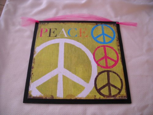 Wall Decor: Peace Signs on Lime Green Wooden Wall Art Girls Bedroom ...