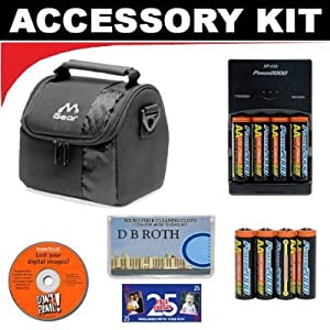 Deluxe Accessory Kit with Charger & 8 AA Rechargeable Batteries + Digital Camera Case For The Pentax K2000, K200D, K100D, K100D SUPER, K110D, *ist DL2, *ist DS2, *ist DL, *ist DS Digital Cameras