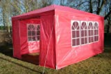 Airwave 3m x 4m Gazebo Party Tent Marquee Awning RED with Side Panels. 120g WATERPROOF Canopy and Powder Coated Steel Frame.