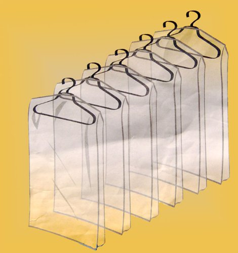 13 PIECE ZIPPERED GARMENT BAGS (CLEAR) - PROTECT
