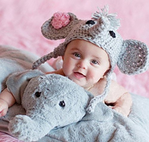 Fashion Newborn Boy Girl Baby Costume Knitted Photography Props Elephant Hat
