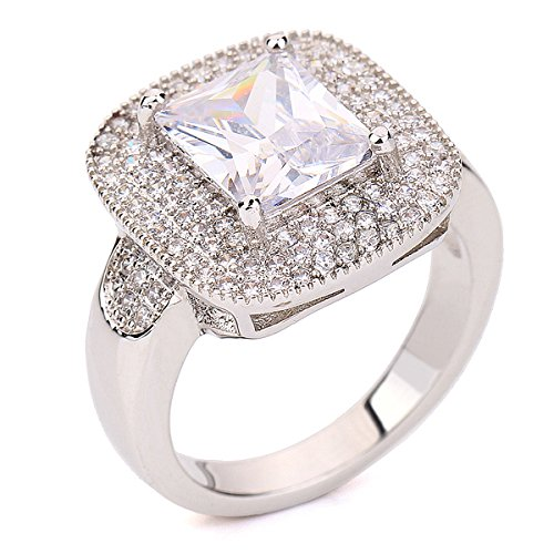 Glucky Exclusive! White Gold Plated Rectangle Emerald Cut Cz Zircon Engagement Ring 6.0