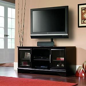sauder panel tv stand with post mount estate black audio video media cabinets. Black Bedroom Furniture Sets. Home Design Ideas
