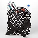 Maui Belted Beach Tote (Black & White Ikat Tile)