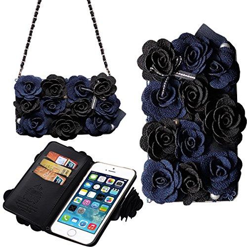 [Card Slot] magnetico Hybrid Portafoglio donna borsetta con tracolla catena Borsetta Custodia Cover per, Similpelle, Black&Blue, iPhone 5/5S/SE