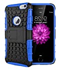 myLife True Blue {Hybrid Kickstand Design} 2 Layer Hybrid Case for the NEW iPhone 6 (6G) 6th Generation Phone by Apple, 4.7 Screen Version (Single External Fitted Hard Protector Shell + Full Body Internal Silicone EASY-Grip Bumper Gel Protection)