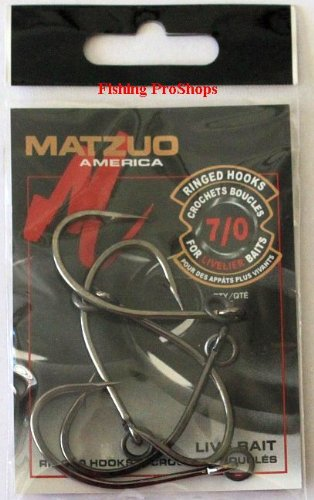 Matzuo 7/0 Black Chrome Live Bait Ringed hooks - 5 Pack