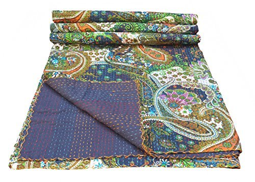 Cheap Multicolor Paisley Print King Size Kantha Quilt , Kantha Blanket, Bed Cover, King Kantha bedsp...