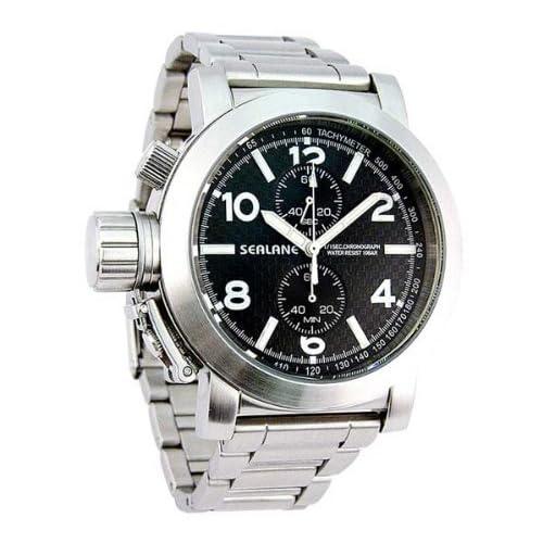 [シーレーン]SEALANE 腕時計 10BAR クロノグラフ メタル SE06-BK メンズ