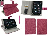 Emartbuy® Hot Pink Dual Function Stylus + Universal Range Faux Suede Leopard Hot Pink Multi Angle Executive Folio Wallet Case Cover With Card Slots Suitable for Advent Vega Tegra Note 7 Inch Tablet