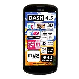 BLU Dash 4.5 Unlocked Dual Sim Phone with Quad-Core 1.2GHz Processor Black