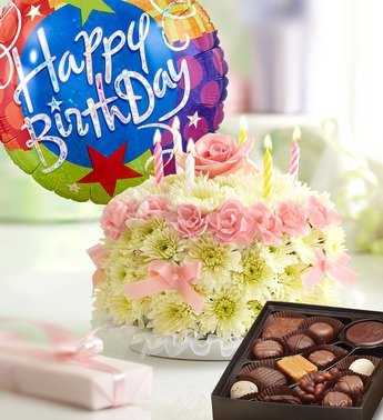 1800Flowers - Birthday Flower Cake Pastel - with Happy Birthday Balloon and...