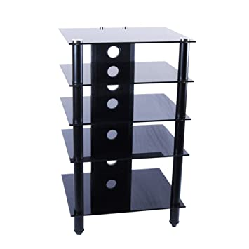 RTA Home And Office Tier One Designs Black Glass And Aluminum Component Audio Rack