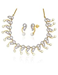 "Peora 18 Karat Gold Plated Cubic Zirconia And Pearl ""Desiree"" Necklace Earrings Set (PN380GJ)"