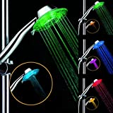 Great Value Shower Heads ABS Water Flow Power 7 Colors Changing LED Flash Light Bathroom Hand Held Rainfall Shower Head