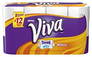 Viva Giant Roll Paper Towels, White, 8 Rolls