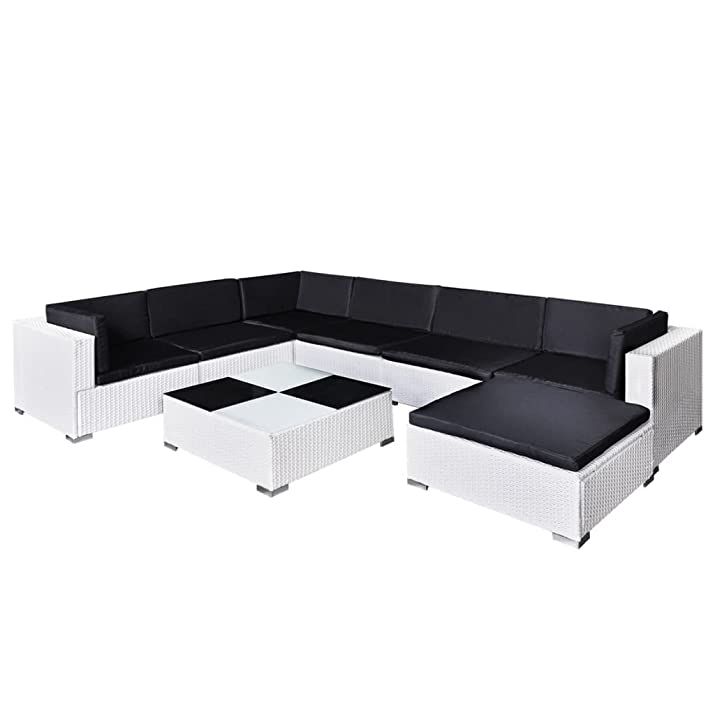 vidaXL Set da seduta da giardino salotto da esterno in polirattan bianco 24 pz