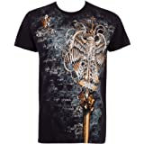 Eagle Perched on a Sword Metallic Silver Embossed Short Sleeve Crew Neck Cotton Mens Fashion T-Shirt ( 2 Colors )