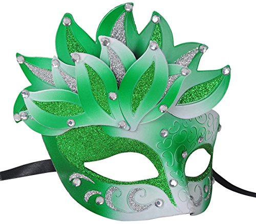 Deluxe Mardi Gras Mask Party Costume Masquerade Mask with Leaves Shape Decor
