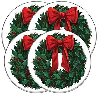 "Range kleen Burner Kovers Round ""Christmas Wreath"" Hallmark"