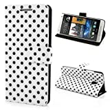 Leather Case Mobile Phone Case Business Case Cover HTC One mini / M4 - STAND BOOK Case Flip Leather white black polka dots 60's