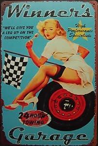 WINNERS GARAGE SIGN, Garage Car Service Metal Tin Plate Sign Poster Vintage Decor, Humorous Garage & Man Cave Decor